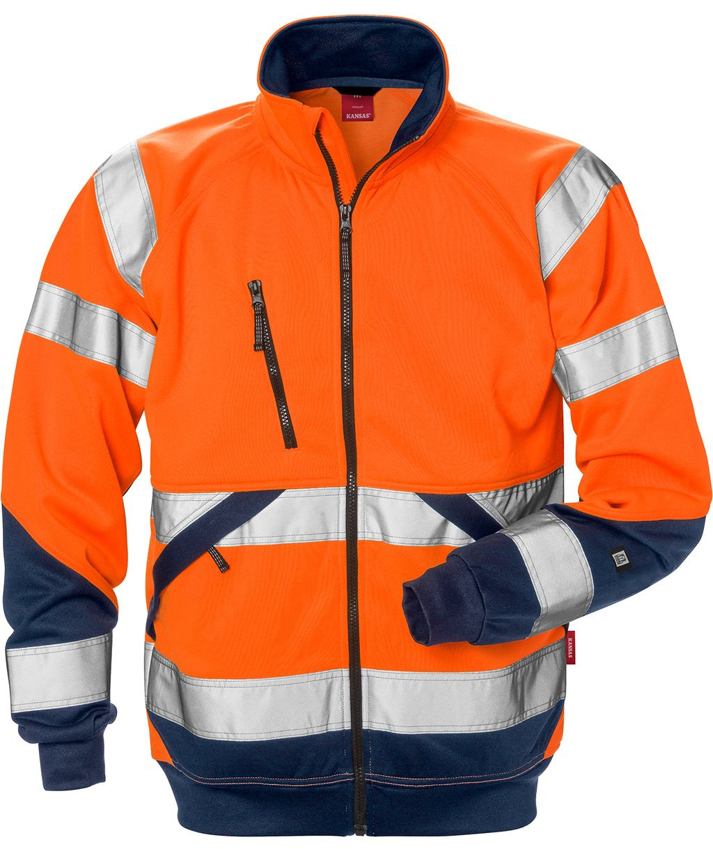 Kansas cardigan, Hi-Vis Orange/Marine