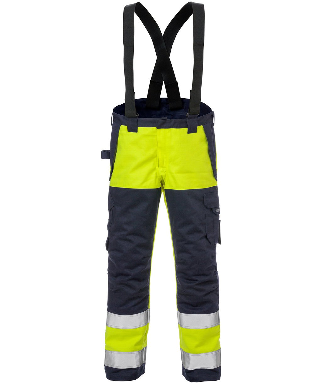 Fristads Flame winter work trousers, Hi-Vis Yellow/Marine Blue