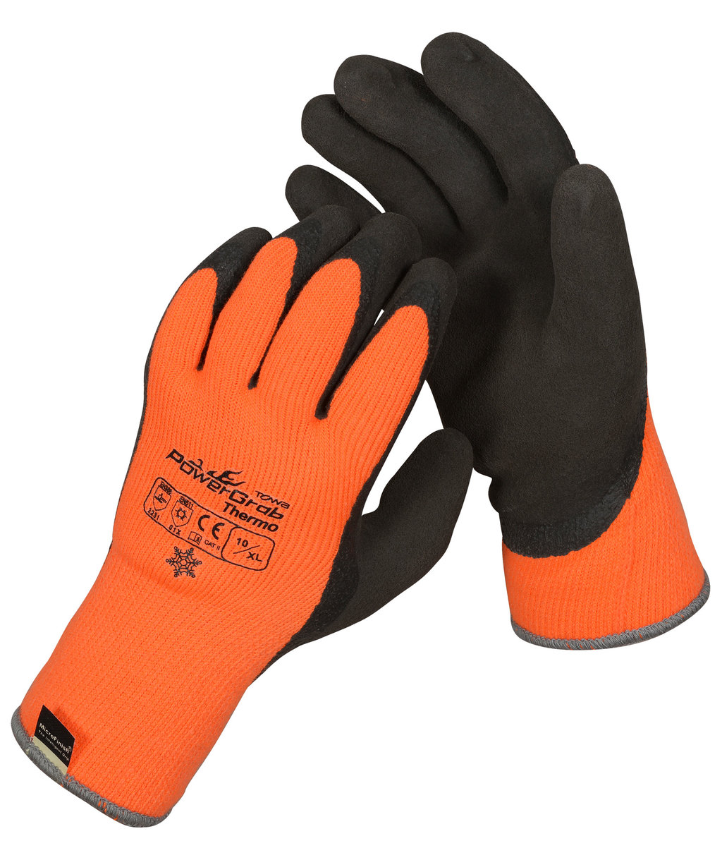 OX-ON PowerGrab Thermo arbejdshandsker, Orange/Sort