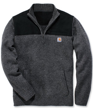 Carhartt stickad collegetröja/ sweatshirt half-zip, Carbon Heather