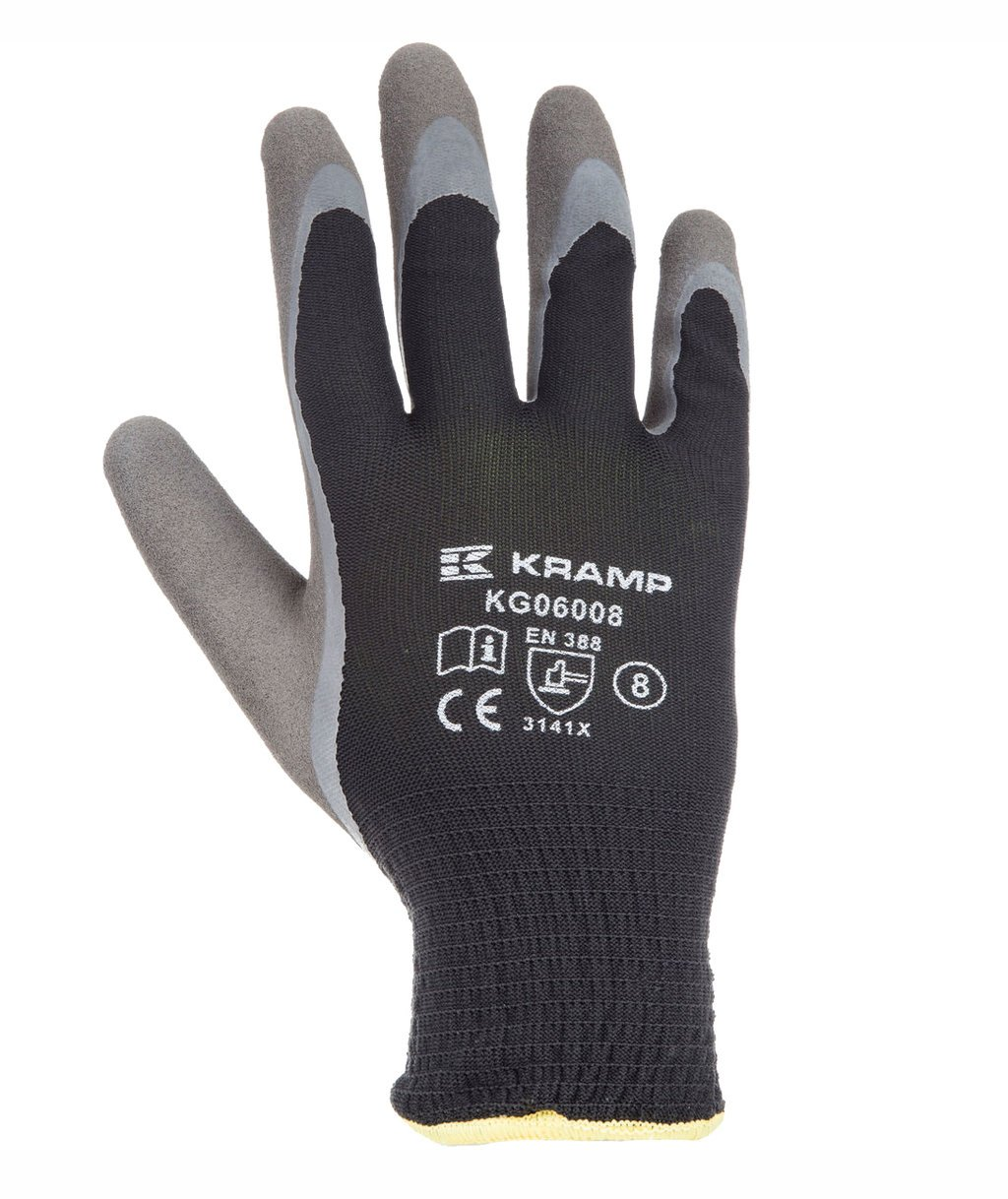 Kramp 6.008 latex dipped winter gloves, Black
