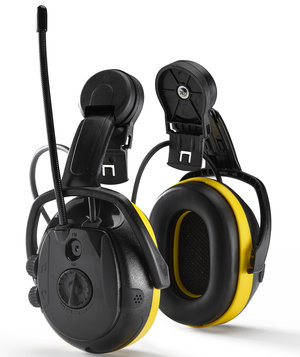 Hellberg Secure REACT earmuffs with FM radio helmet mounted, Black/Yellow