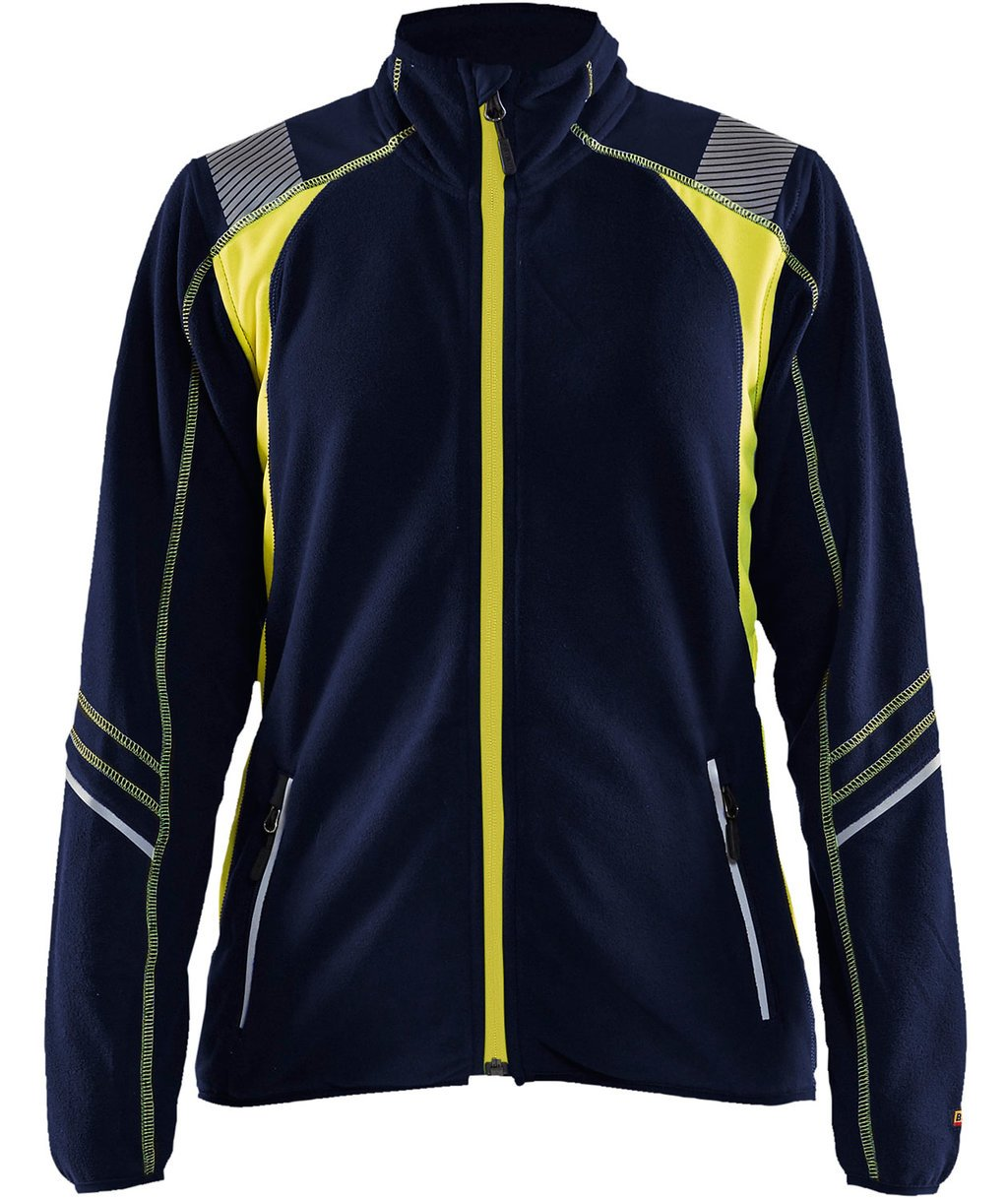 Blåkläder women's fleece jacket, Marine Blue/Yellow