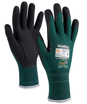 MaxiFlex Cut 34-8743 cut protection gloves Cut B, Green/Black