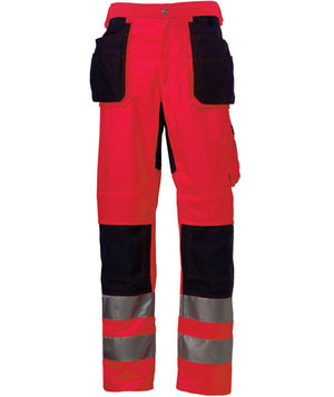 Helly Hansen WW Bridgewater craftmens trousers, Hi-Vis Red/Charcoal
