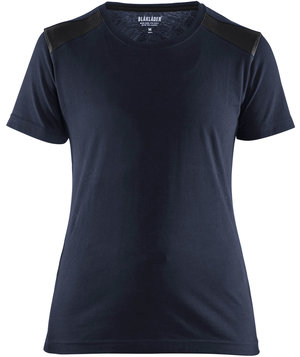 Blåkläder women's T-shirt, 100% cotton, Dark Navy/Black