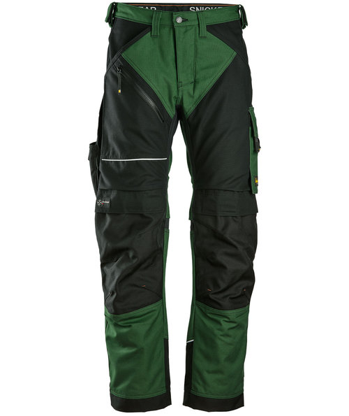 Snickers RuffWork Canvas+ work trousers , Forrest Green/Black