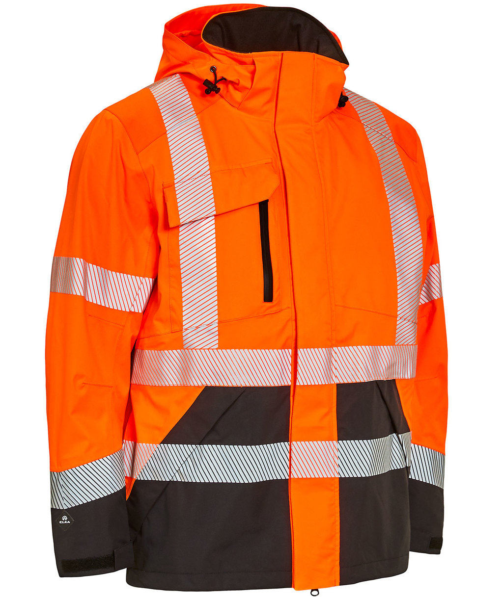 Elka Visible Xtreme stretch jakke, Hi-Vis Orange/Sort