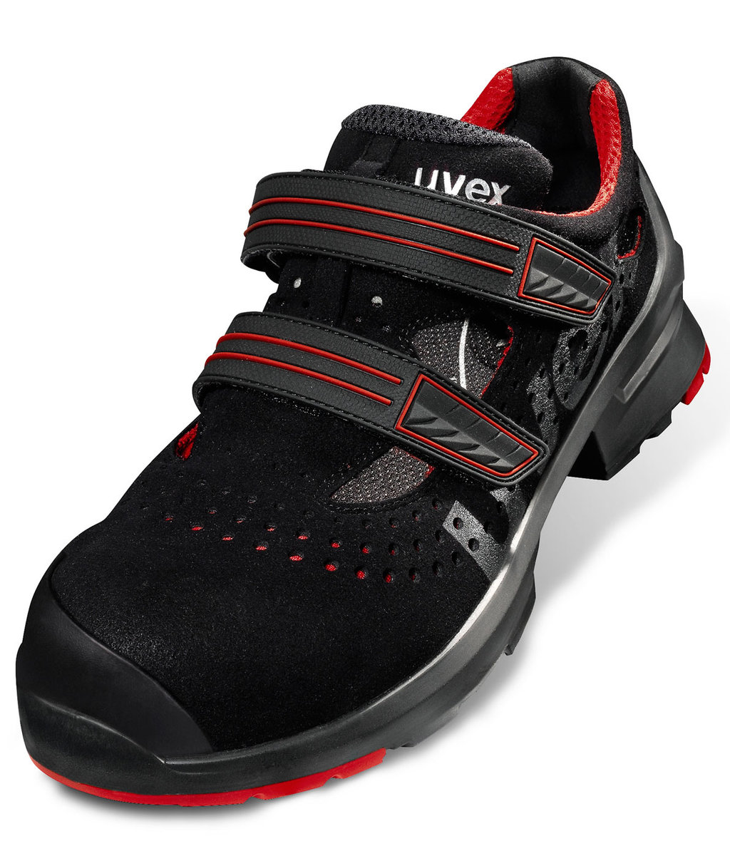 Uvex 1 8536 ESD safety sandals S1P, Black/Red