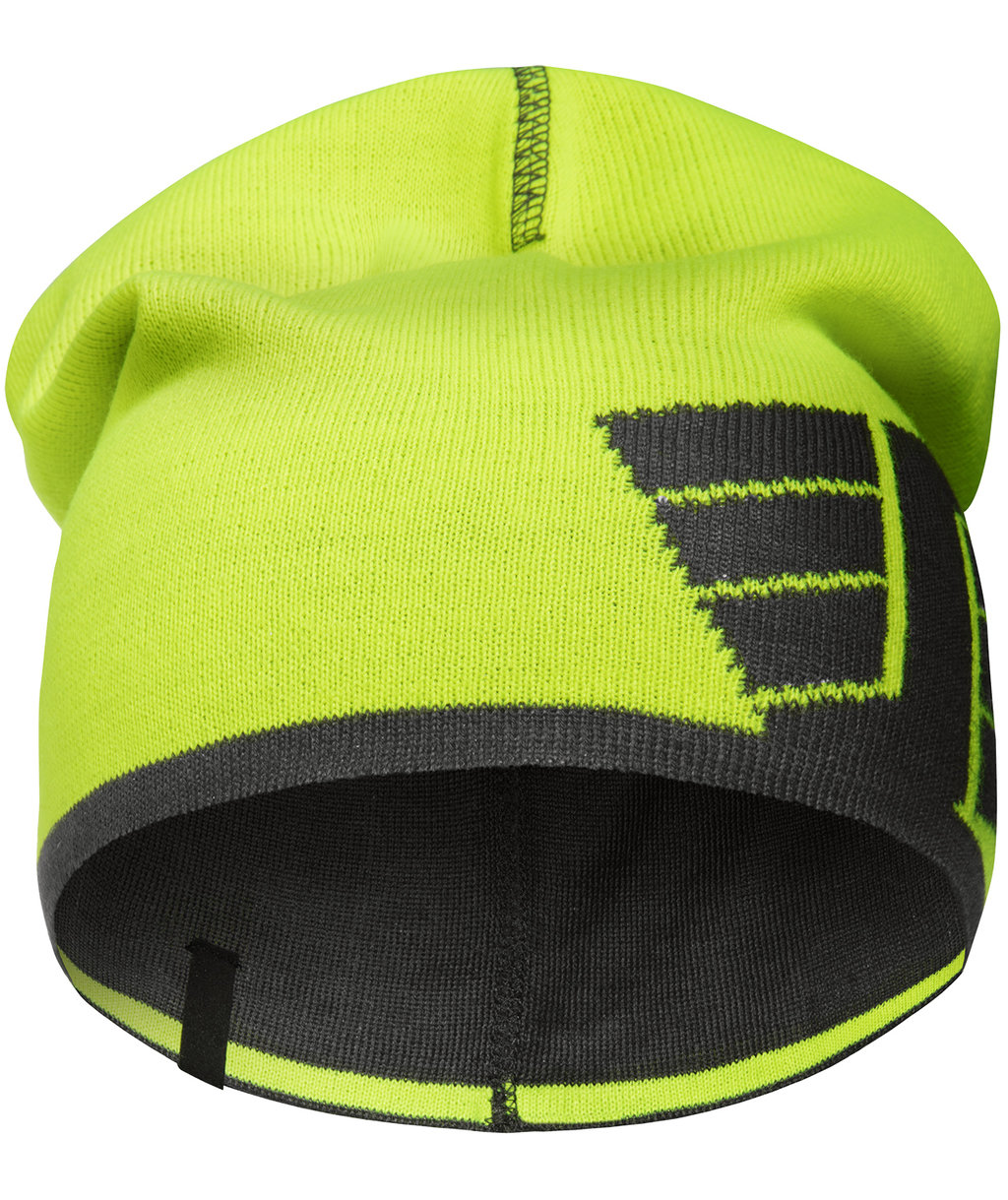 Snickers reversible knitted beanie, Yellow/Charcoal