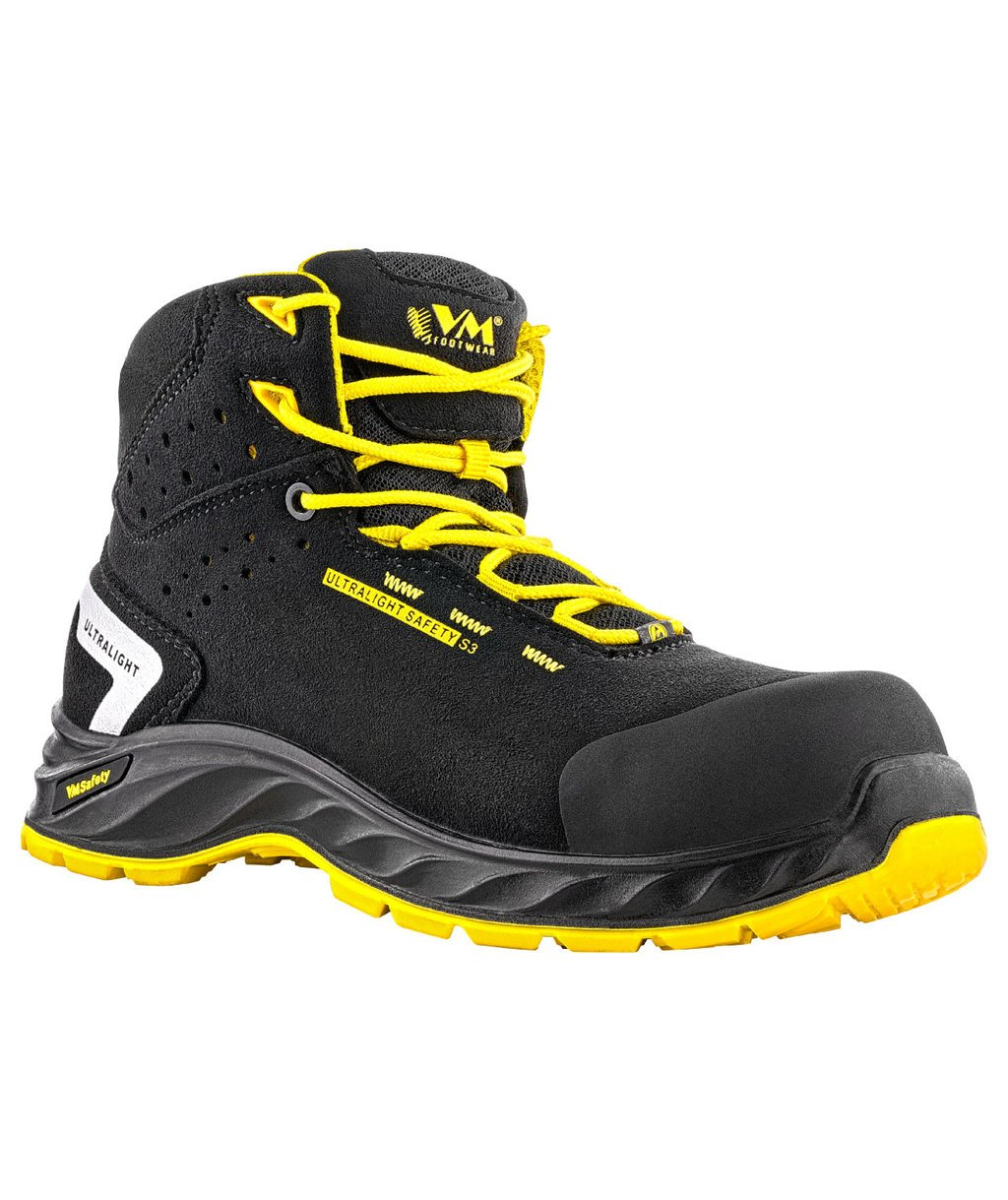 VM Footwear Wisconsion safety bootees S3, Black/Yellow