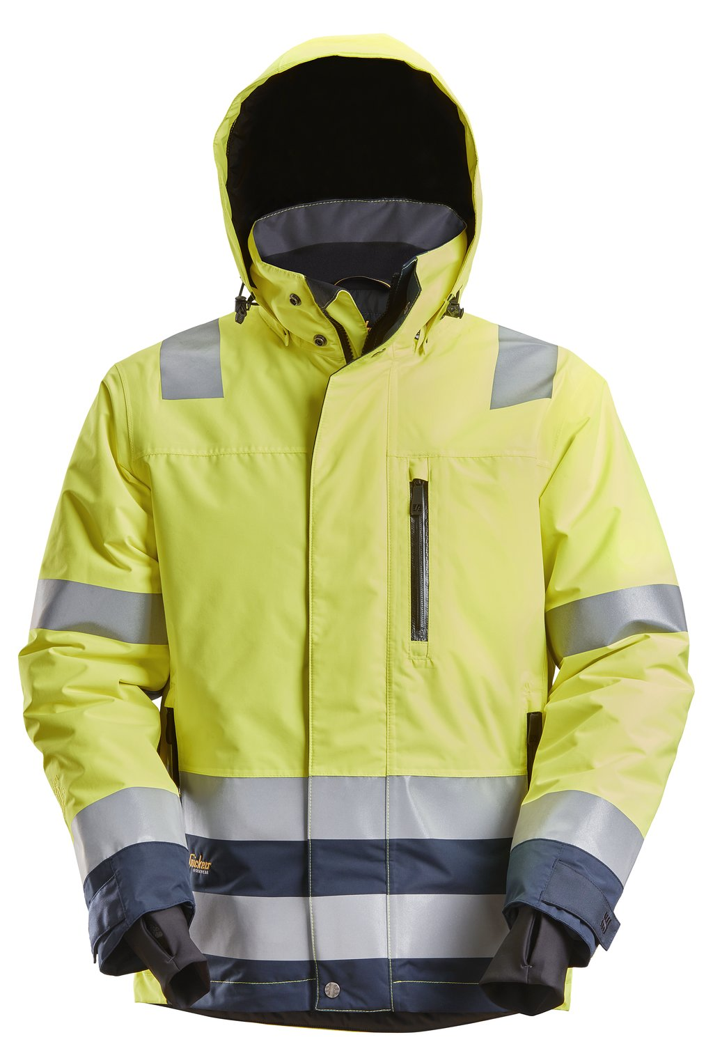 Snickers AllroundWork shell jacket, Hi-Vis Yellow/Marine Blue