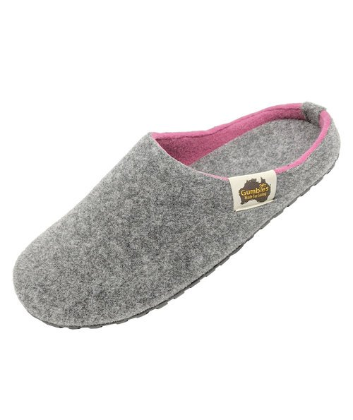 Gumbies Outback Slipper dame hjemmesko, Grey/Pink