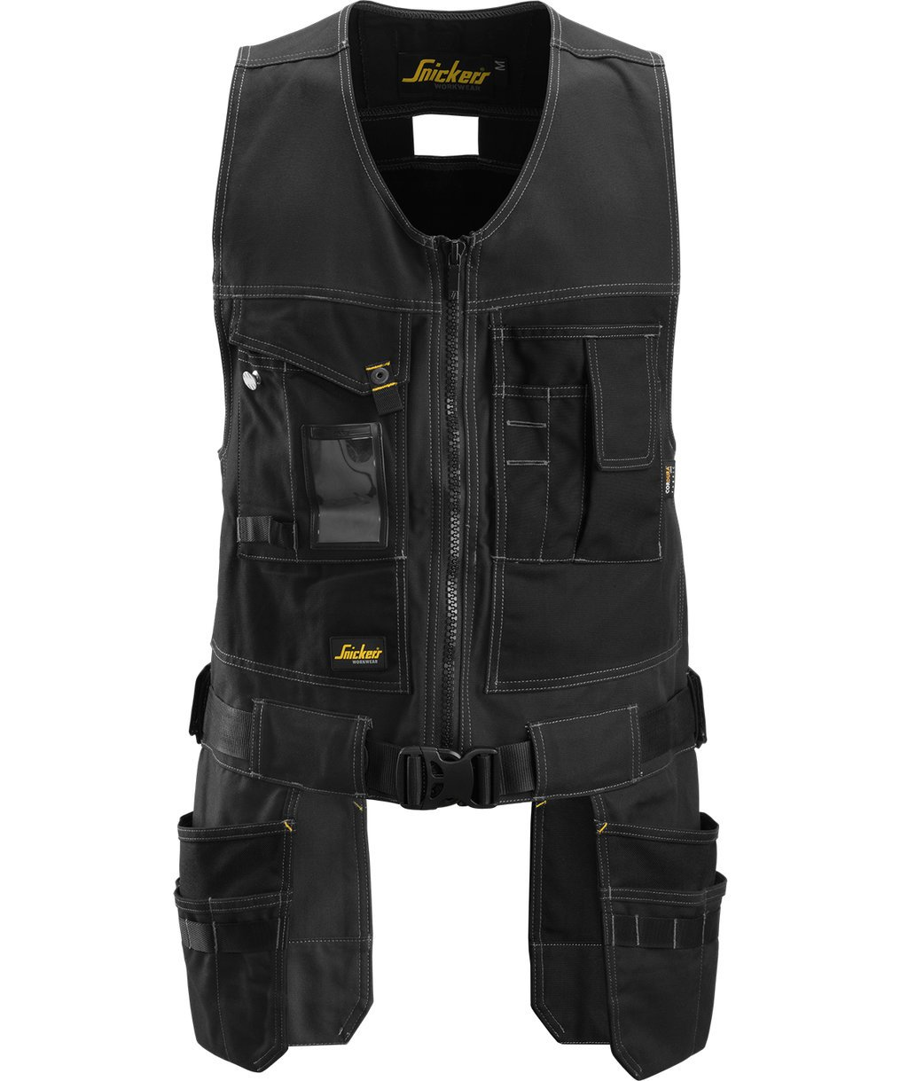 Snickers craftsmens waistcoat, Canvas+, Black/Black