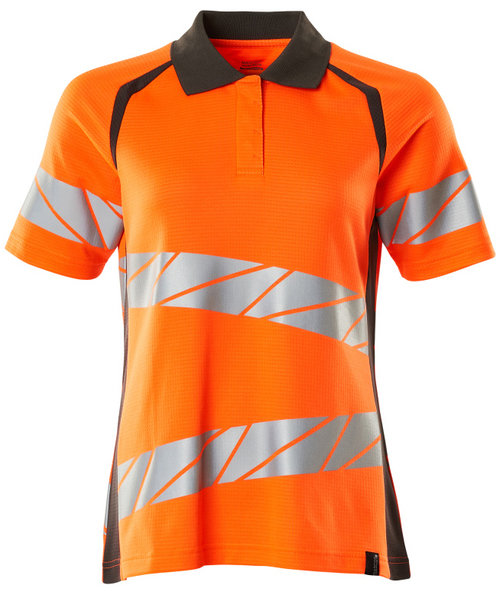 Mascot Accelerate Safe polo T-shirt dam, Varsel Orange/Mörk Antracitgrå