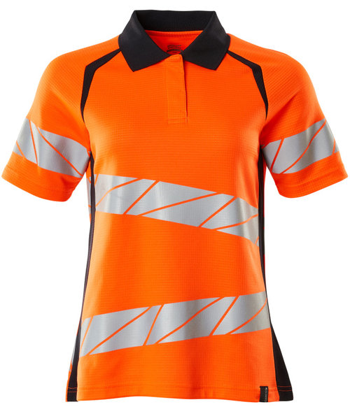 Mascot Accelerate Safe polo T-shirt dam, Varsel Orange/Mörk Marinblå
