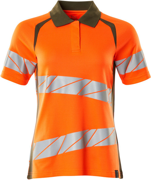 Mascot Accelerate Safe polo T-shirt dam, Varsel Orange/Mossgrön