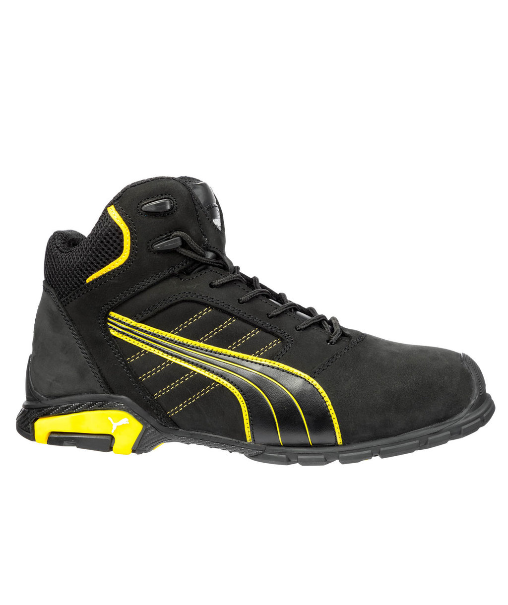 Puma Amsterdam Mid safety bootees S3, Black/Yellow