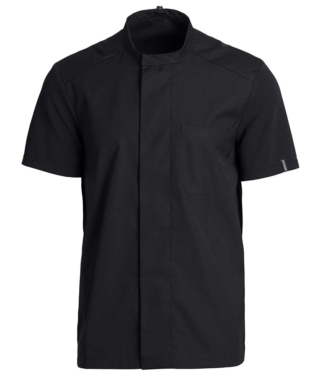 Kentaur short-sleeved unisex pique chefs-/service shirt, Black