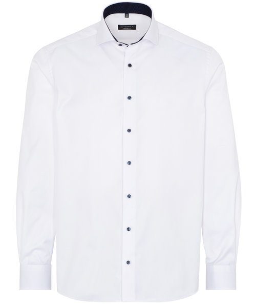 Eterna Cover shirt with contrast - Comfort Fit, White