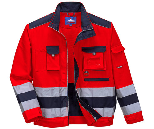 Portwest work jacket, Hi-Vis Red/Navy