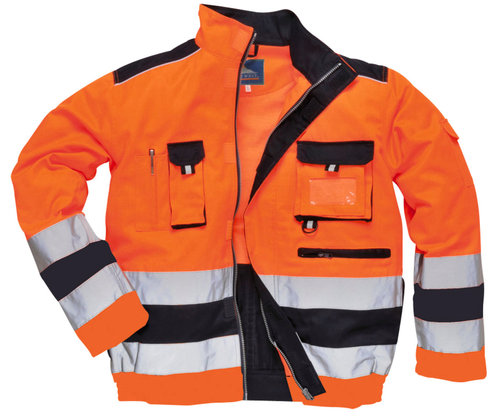 Portwest work jacket, Hi-Vis Orange/Marine