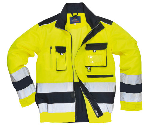 Portwest work jacket, Hi-Vis Yellow/Marine