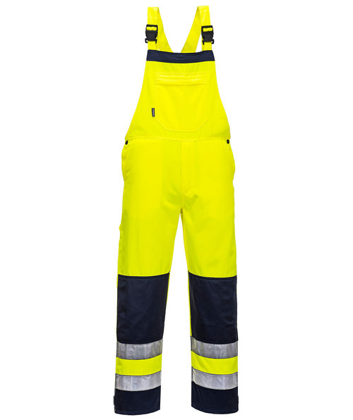 Portwest Bib and Brace, Hi-Vis Yellow/Marine