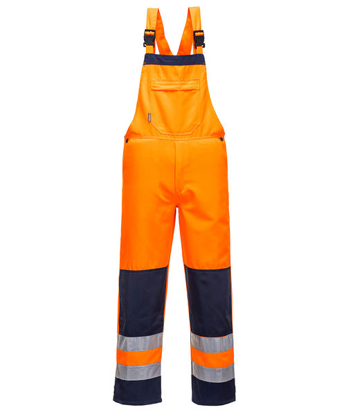 Portwest Bib and Brace, Hi-Vis Orange/Marine