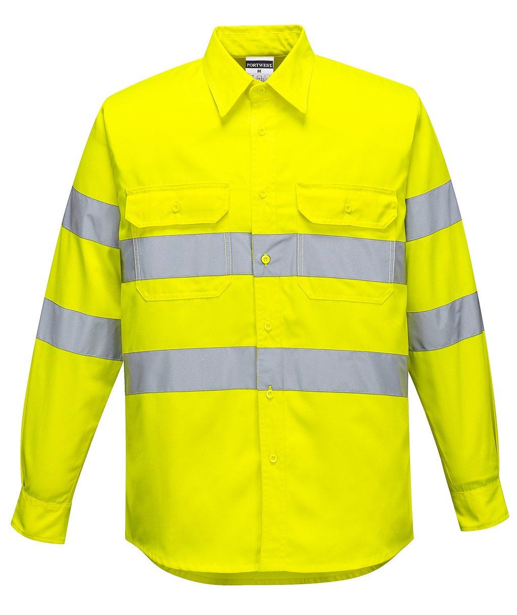 Portwest work shirt, Hi-Vis Yellow