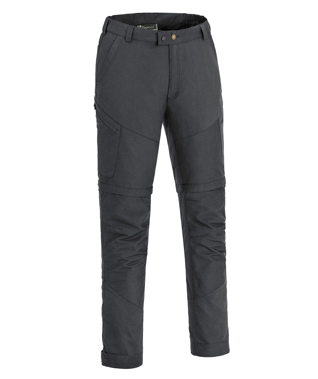 Pinewood Tiveden TC-stretch zip-off friluftsbyxa med insect-stop, Dark Anthracite