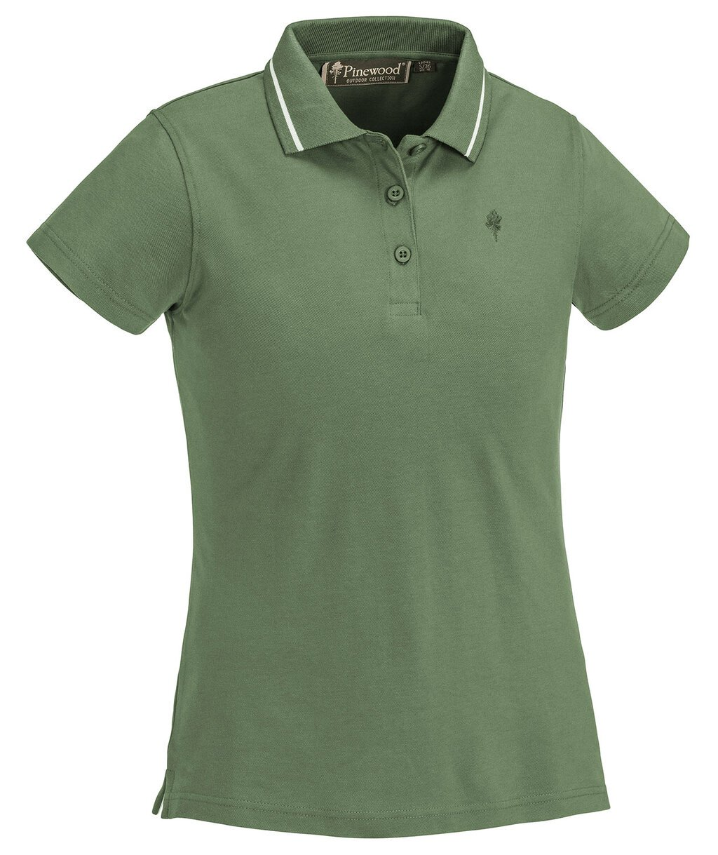 Pinewood Outdoor Life dame polo T-shirt, Mid. green